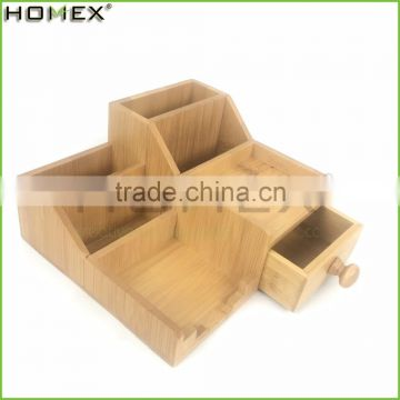 Office Desk Storage Organizer on Tabletop in Bamboo/Homex_FSC/BSCI Factory