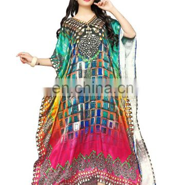Ladies Stylish Party Wear Kaftans With 3D Digital Block Printing 2017