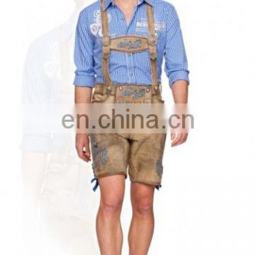 New 2014 Men's Leather Shorts antique Blue