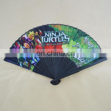 21cmL bamboo craft custom advertising fabric fan with handle