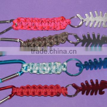 key fob Fun and functional item hiking camping parties Four colors to choose Fish bone shaped bottle opener on paracord