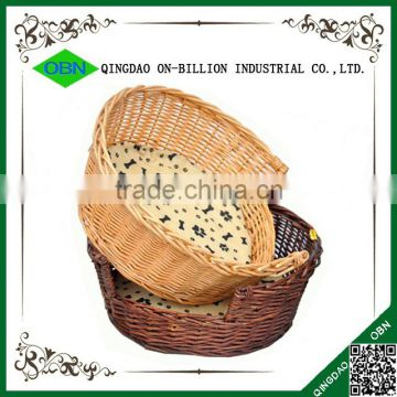 Handmade round comfort natural wicker rattan dog bed