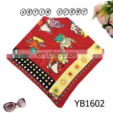 50*50cm small girl students Satin Fashion Scarf, Good Texture, Polyester Printed square Hijab hot sell Iran new style