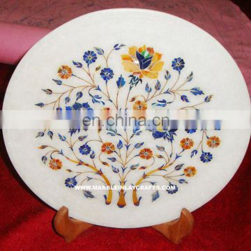 Pietra Dura Marble Inlay Decorative Plate Antique Plate
