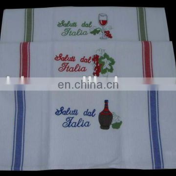 textile china supplier wholesale hot sale cheap cotton kitchen towel waffle embroidery tea towel