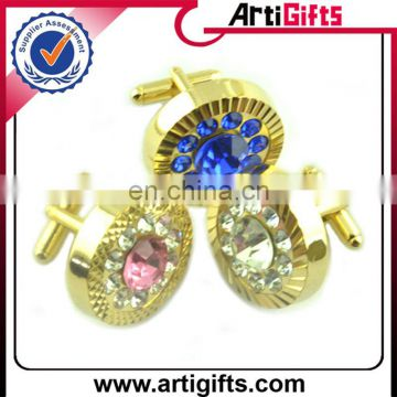 Newest fashion rhinestone metal wholesale cufflinks