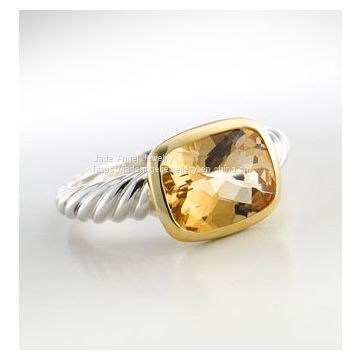 925 Silver Gold Two Tone Smoky Quartz Noblesse Cable Ring
