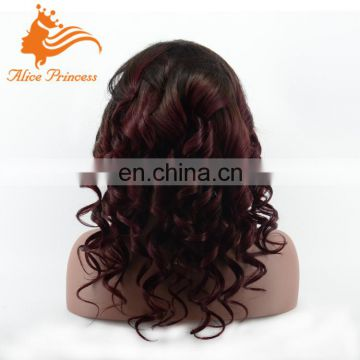 Qingdao Factory Hot Sale Unprocessed Ombre Color Wave 18 Inch Brazilian Virgin Human Hair Full Lace Wig