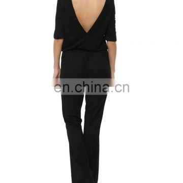 Beautiful flare black long jumpsuit for women