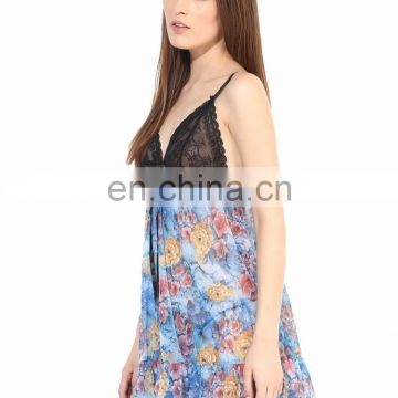 Blue Babydoll Nightwear printed