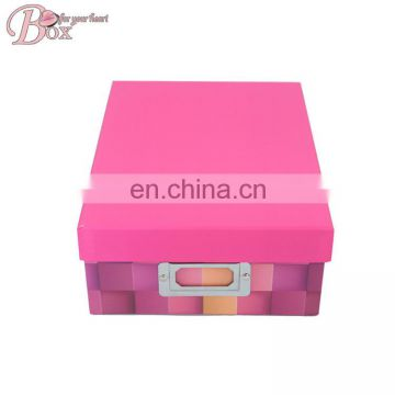2016 Large to Small Nested Whole Printing Fashion Cute Pink Paper Box Clothes Toy Shoe Storage Boxes with Single Metal Handle
