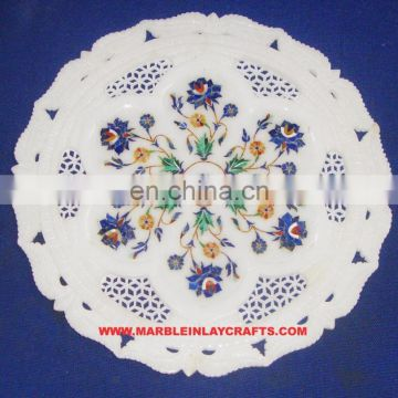 Marble Flower Work Inlay Plate