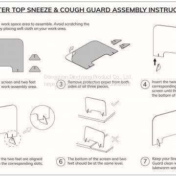Plexiglass Sneeze Guard for Counter and Desk   workplace safety equipment   Custom Sneeze Guards