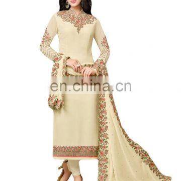 2017 Casual Party Wear Stylish Semi-Stitched Salwar Kameez / Heavy Embroidery Work Georgette Suits (salwar kameez Suits)