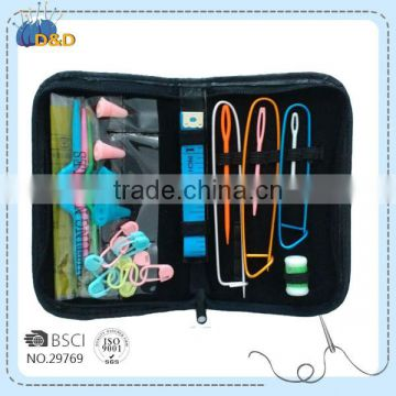 D&D knitting tool knitting set PU zipper pouch knitting accessories kits with yarn needles/stich holders/lock pin makers