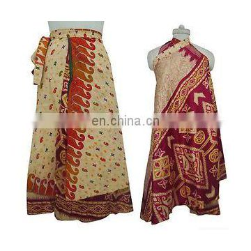 "Indian Around skirts Reversible Dress Garden Silk Magic Wrap Skirt Plus Size Long 36"" Sari dress beach wear Wraparound Ethnic"