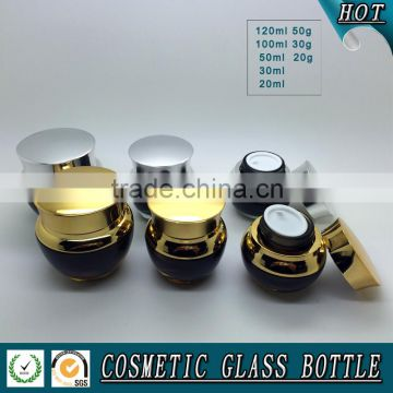 Black colored glass cosmetic bottle and glass cosmetic cream jar with shining silver lid                                                                         Quality Choice
