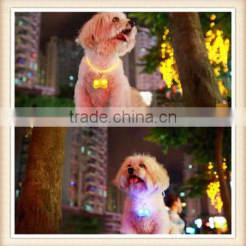 10pcs/lot Pet Supplies Colorful Bone Style Hanings LED Flashing Dogs Drop Pendant luminous Night Glowing Hang Tag