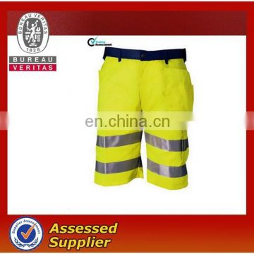 Yellow Work Shorts with high visibility reflective tape