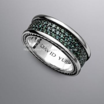 Sterling Silver Inspired DY White Diamond Pave Band Men Ring