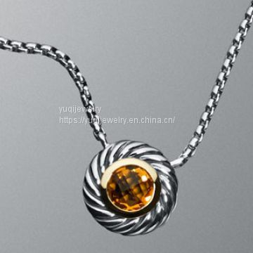 925 Silver Jewelry Large Citrine Color Classics Necklace(N-056)