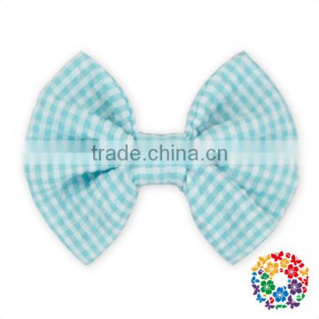 Grosgrain boutique hair bow Seersucker gingham hair bows for girls boutique