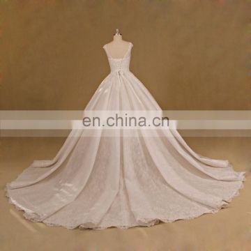 Newest Lace Strapless Bling Muslim Ball Gown Wedding Dresses