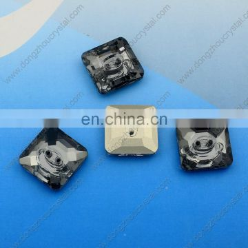 Black Diamond Square Loose Crystal Button for Garment Accessories Wholesale