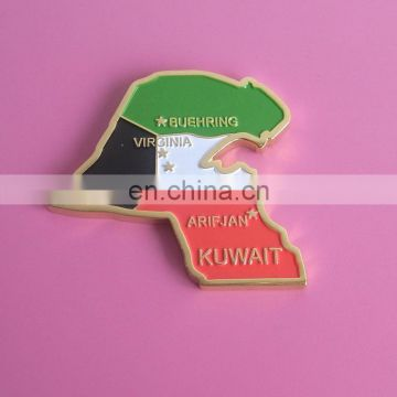 Kuwait country map with flag color enamel coin