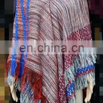 Color yarn winter acrylic poncho shawl&kick pleat scarf big scarf, wool shawl polyester scarf