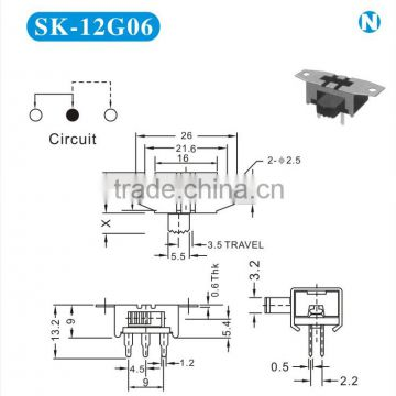 SK-12G06 Horizontal slide switch