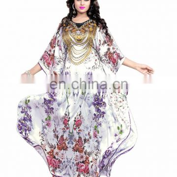 Women's White Colour 3D Digital Print Floral Patter Simple & Sober Kaftan / Straight Style Long Length Kurta (kaftan dress)