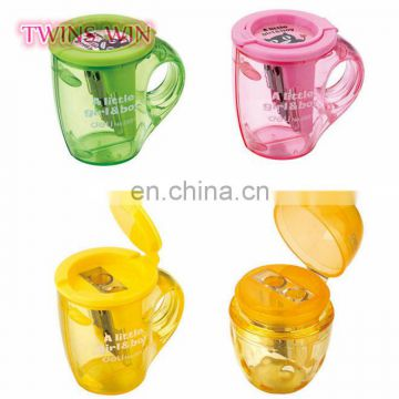 Aliexpress New 2018 school products stationery wholesale Good quality different types mini plastic cup shaped pencil sharpener