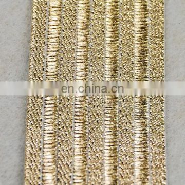 Hot sale lurex elastic tape elastic band with gold thread for clothes