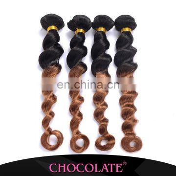 Factory price Chocolate loose wave ombre color 1B/30 big factory remy hair