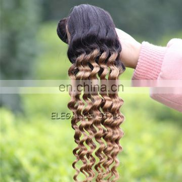 bohemian curl unprocessed brazilian human hair weave colored 1b-27 curly funmi hair extensions