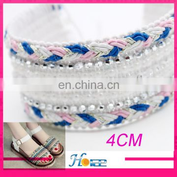 New arrival trim embroidery with beads garment beads trim for shoes