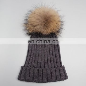 2015 Winter fur pompon hats knitting wool hat female high quality knitted hat with ball top for women