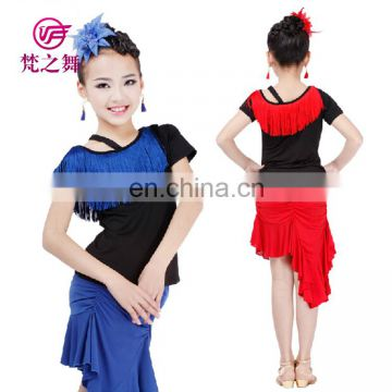 Hot sale training milk silk children kids latin dance clothing top and skirt with size S M L XL ET-120