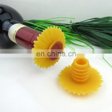 Mult-Purpose Sunflower Shape Perfect for Wine Champagne Beverage Beer Silicone Wine Bottle Stopper