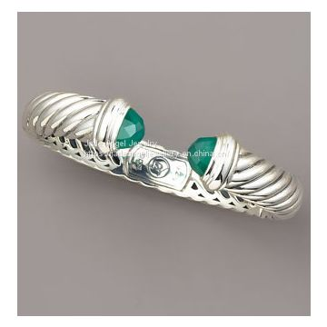 925 Sterling Silver DY Green Onyx Waverly Cuff Bracelet for Women