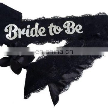 China factory Elegant Black Lace Sash Bride to Be Sash for Hen Party