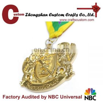 High quality gold blank award medal, metal medal ribbon