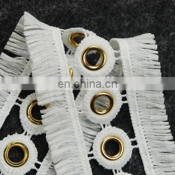 Fashion cotton eyelet fringe tassel trimming for dresses