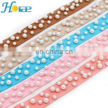 2.5cm width new arrival Fancy Tapes Ribbon With Pearls different colors lace trim fancy tapes ribbon