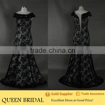 Plus Sleeve Mermaid Cap Sleeve Black Net Patterns Of Lace Evening Dress                                                                         Quality Choice