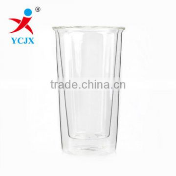 400ml clear pyrex double wall glass coffee cups