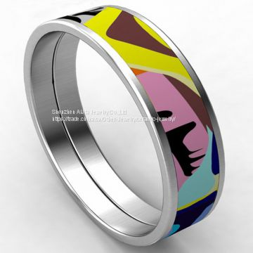 Anniversary Stainless Steel Bangles Bracelet Round With Custome Logo