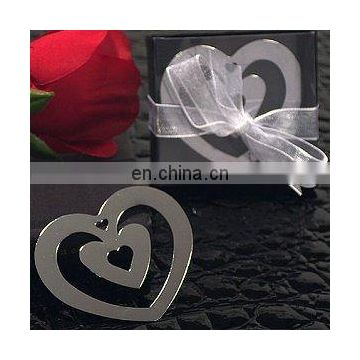 Double Heart Shaped Chrome Metal Bookmark