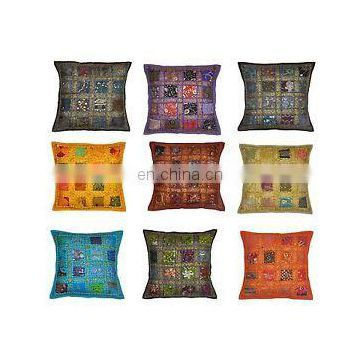 "Indian Cotton Patchwork Cushion Cover Decor Embroidery Pillow Cover 16"" Embroidered Ethnic decorative Vintage cases wholesale"